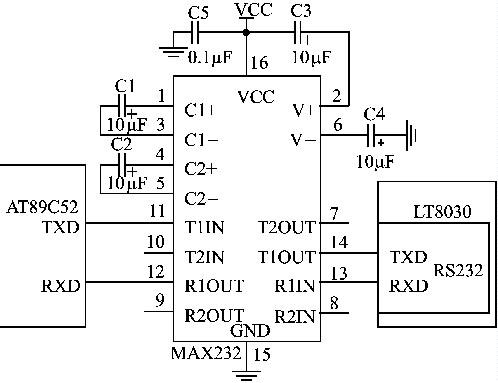 图2单片机与gprs模拟连接的电路
